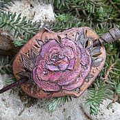 Украшения handmade. Livemaster - original item Pin-brooch made of Pink leather. Handmade.