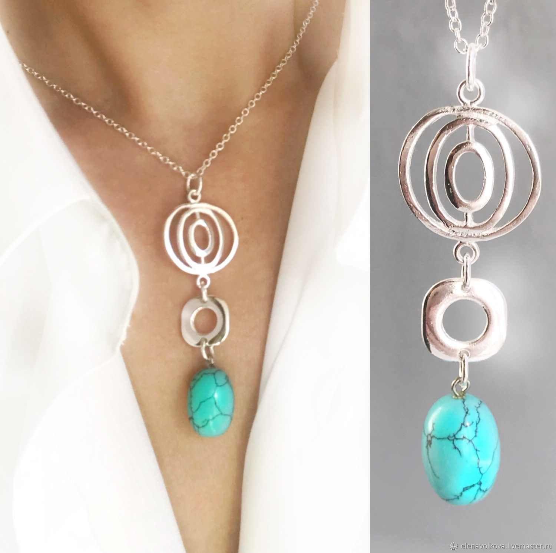 Turquoise pendant on a chain - light, beautiful, summer, Necklace, Yaroslavl,  Фото №1