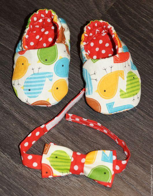 Детская обувь ручной работы. Ярмарка Мастеров - ручная работа. Купить Двусторонние текстильные мокасины и бабочка. Handmade. Комбинированный, мокасины