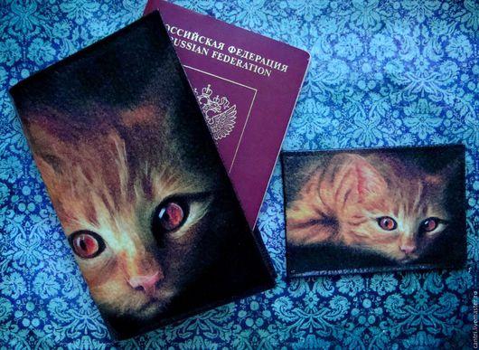 Обложки ручной работы. Ярмарка Мастеров - ручная работа. Купить Обложка для паспорта РЫЖИЙ КОТ... Handmade. Черный, обложка для паспорта
