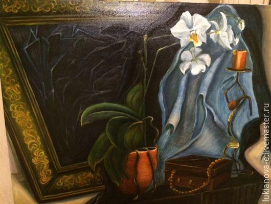 Натюрморт ручной работы. Ярмарка Мастеров - ручная работа. Купить Любительница орхидей. Handmade. Коричневый, орхидея, шкатулка для украшений, бусы