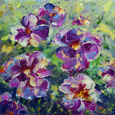 Pictures and panels handmade. Livemaster - original item Painting pansies, abstract flowers oil painting cheap:. Handmade.