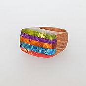 Украшения handmade. Livemaster - original item The colored ring of wood. Handmade.