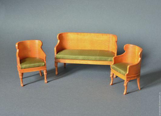 Кукольный дом ручной работы. Ярмарка Мастеров - ручная работа. Купить Комплект миниатюрной мебели 1:12. Диван и кресла в стиле классицизм. Handmade.