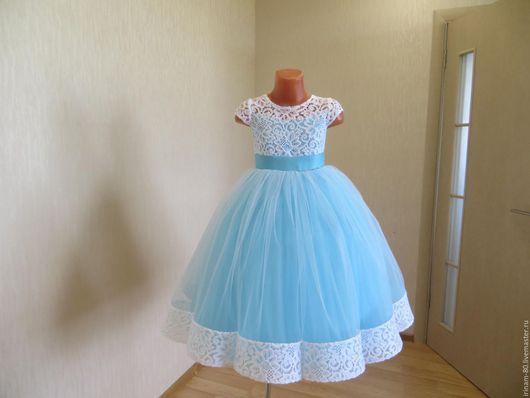 """Одежда для девочек, ручной работы. Ярмарка Мастеров - ручная работа. Купить Нарядное платье для девочки """"Лазурная волна"""". Handmade."""