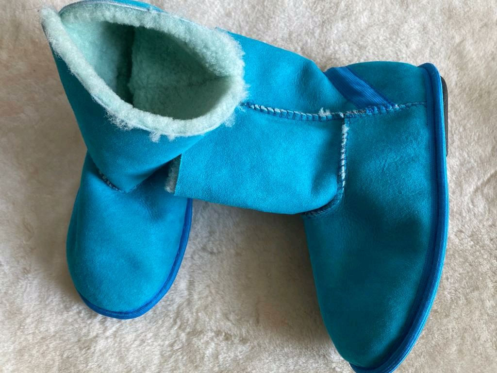 Ugg boots made of sheep fur turquoise, Ugg boots, Moscow,  Фото №1