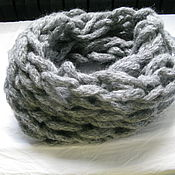 Аксессуары ручной работы. Ярмарка Мастеров - ручная работа Светло серый снуд шарф труба мужской. Handmade.