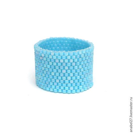 Кольца ручной работы. Ярмарка Мастеров - ручная работа. Купить Широкое голубое кольцо из бисера Простое голубое кольцо на палец. Handmade.