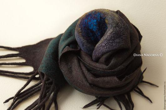 Шарфы и шарфики ручной работы. Ярмарка Мастеров - ручная работа. Купить Теплый шарф из мериносовой шерсти и шелкового шифона. Handmade.