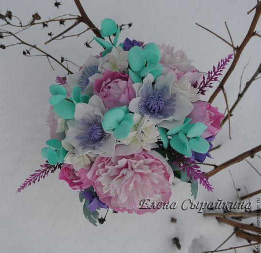 """Свадебные цветы ручной работы. Ярмарка Мастеров - ручная работа. Купить Свадебный букет невесты из фоамирана (ревелюра) """"Нежность"""". Handmade."""