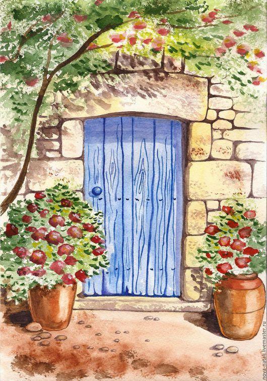 Город ручной работы. Ярмарка Мастеров - ручная работа. Купить Дверь. Handmade. Греция, дверь, крит, синий, дом, цветы