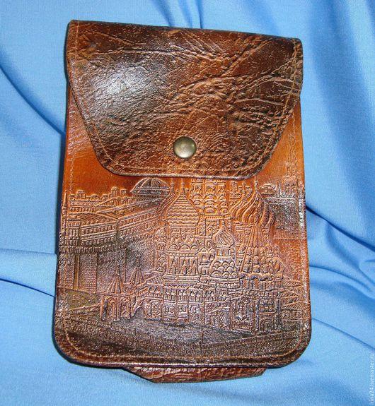 Винтажные сумки и кошельки. Ярмарка Мастеров - ручная работа. Купить Барсетка из 80х Тиснёная кожа. Handmade. Коричневый, винтажная барсетка