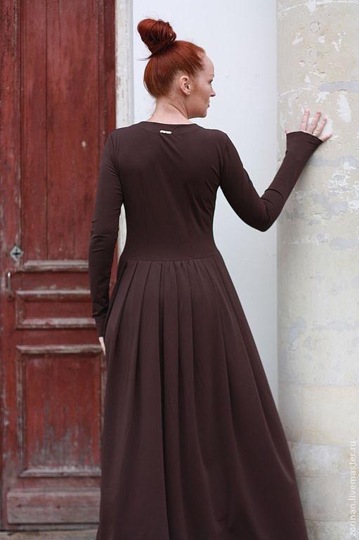"""Платья ручной работы. Ярмарка Мастеров - ручная работа. Купить Платье в пол """"Шоколад"""". Handmade. Коричневый, модное платье"""
