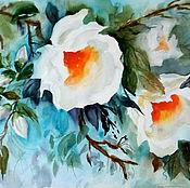 """Картины и панно ручной работы. Ярмарка Мастеров - ручная работа Картина акварель """"Сияние белых цветов"""". Handmade."""