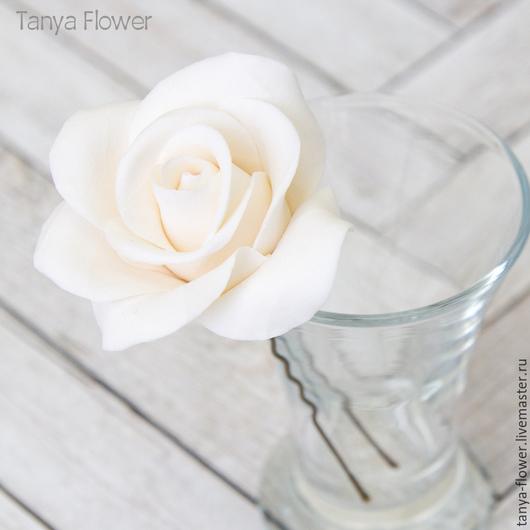 Заколки ручной работы. Ярмарка Мастеров - ручная работа. Купить Шпильки с розами (средние) Белые. Handmade. Украшение для волос