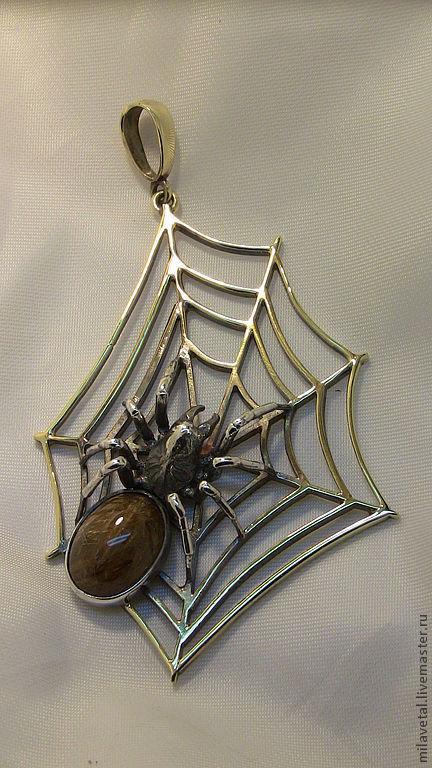 Кулоны, подвески ручной работы. Ярмарка Мастеров - ручная работа. Купить кулон с пауком. Handmade. Паук, подвеска, рутиловый кварц