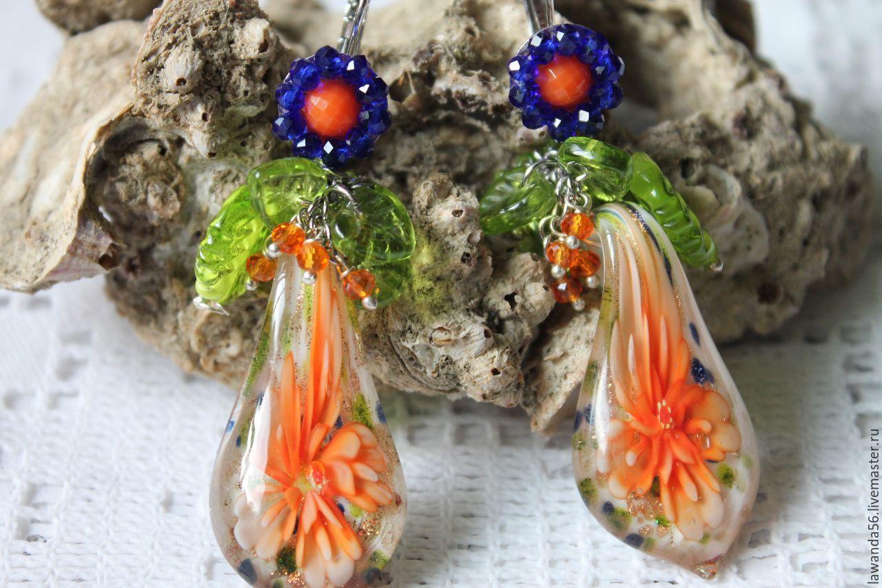 Earrings lampwork Morning flower, Earrings, Krasnoyarsk,  Фото №1