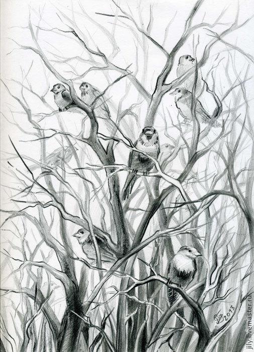 """Животные ручной работы. Ярмарка Мастеров - ручная работа. Купить Графика """"На дереве"""". Handmade. Серый, весна, воробьи, птицы"""
