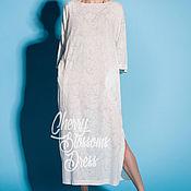 Одежда ручной работы. Ярмарка Мастеров - ручная работа Белое хлопковое макси летнее повседневное платье, большие размеры. Handmade.