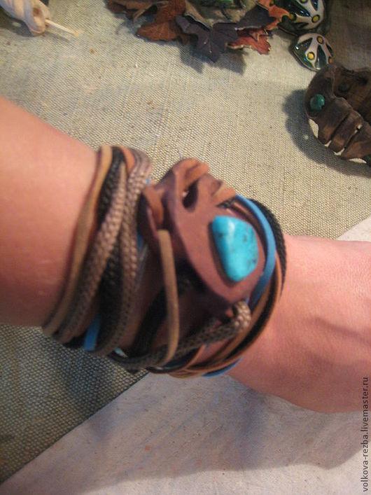 Браслеты ручной работы. Ярмарка Мастеров - ручная работа. Купить браслет- колье из дерева с бирюзой, авторская работа. Handmade. Колье