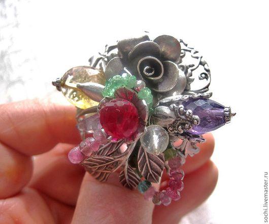 """Кольца ручной работы. Ярмарка Мастеров - ручная работа. Купить кольцо""""Яркие краски лета"""". Handmade. Колье с камнями, цитрины, изумруды"""
