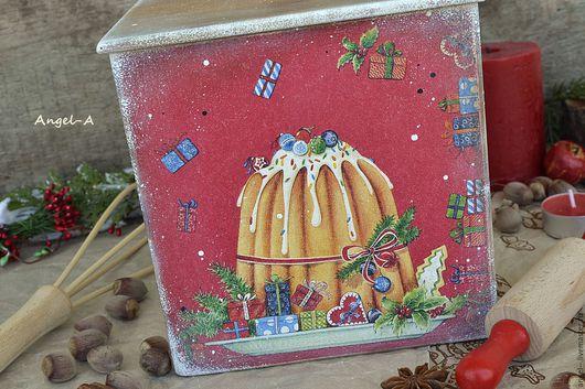 """Корзины, коробы ручной работы. Ярмарка Мастеров - ручная работа. Купить Короб деревянный """"Выпечка к Рождеству"""". Handmade. Короб для выпечки"""