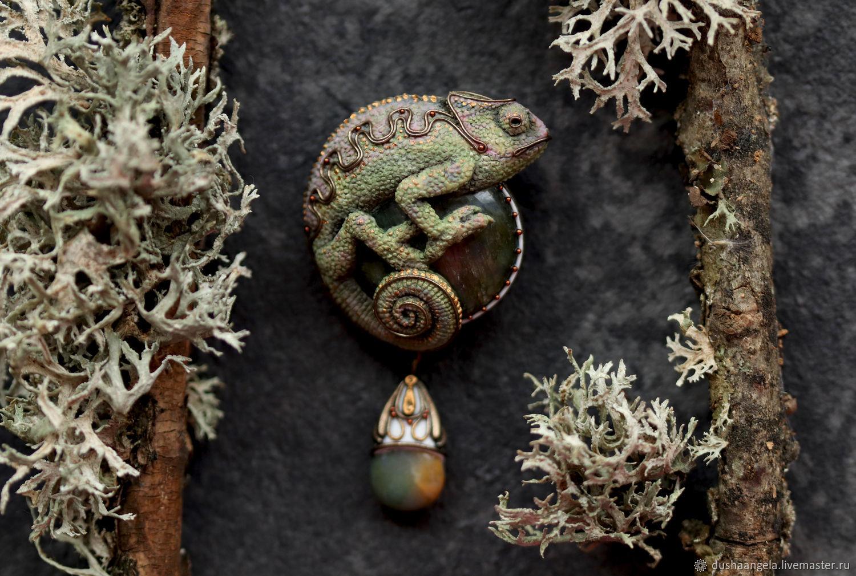 Brooch-pin: ' Lignum talpa ' modern, lizard, Brooches, Vladimir,  Фото №1
