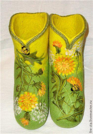 """Обувь ручной работы. Ярмарка Мастеров - ручная работа. Купить Валенки """"Венок из одуванчиков"""". Handmade. Желтый, пленочный пластик"""