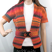 Одежда handmade. Livemaster - original item Knitted fitted jacket with short sleeves and peplum. Handmade.