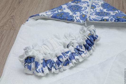 """Для новорожденных, ручной работы. Ярмарка Мастеров - ручная работа. Купить Rонверт на выписку """"Гжель"""". Handmade. Синий, конверт для новорожденных"""