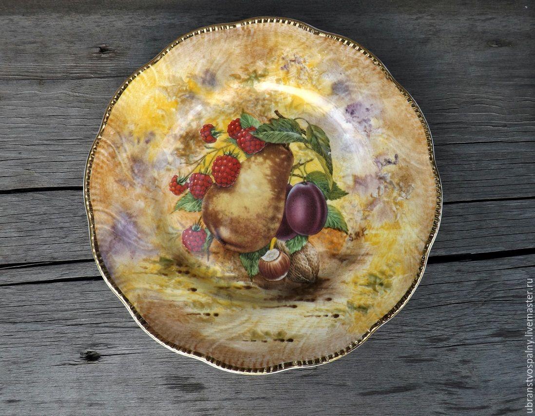 Винтаж: Редкая декоративная тарелка с ручной росписью 3. P. Gosling Англия, Винтажные предметы интерьера, Липецк, Фото №1