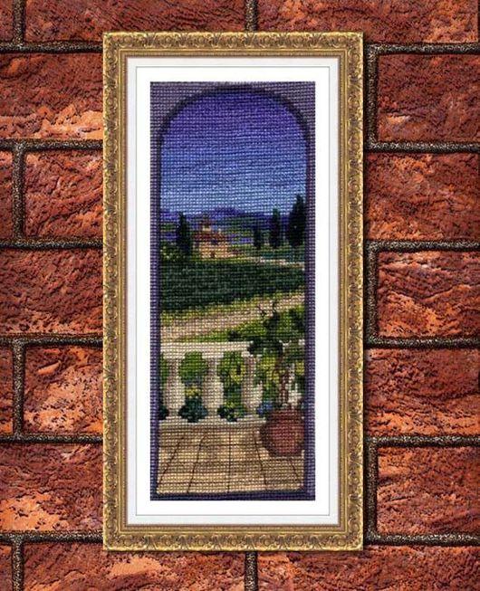 Вышитая картина Вид с террасы, пример оформления в виртуальную раму с паспарту