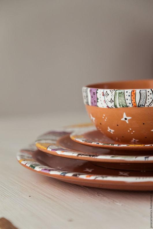 """Тарелки ручной работы. Ярмарка Мастеров - ручная работа. Купить """"Мотивы Бакста.Пери"""" Набор из трёх плоских тарелок и пиалы, керамика. Handmade."""