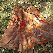 Аксессуары handmade. Livemaster - original item Stole felted on silk Copper-red. Handmade.
