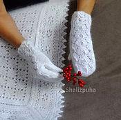 Аксессуары ручной работы. Ярмарка Мастеров - ручная работа 269, Варежки  вязаные белые ажурные ручная работа. Handmade.