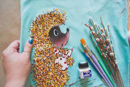 T-Shirts & Singlets handmade. Livemaster - handmade. Buy hedgehogs (t-shirts with hedgehogs).