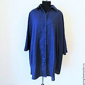 Одежда handmade. Livemaster - original item dress shirts ocean, flax with cotton.. Handmade.