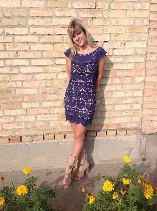 """Платья ручной работы. Ярмарка Мастеров - ручная работа. Купить Платье""""Сердечко"""". Handmade. Синий, платье крючком"""