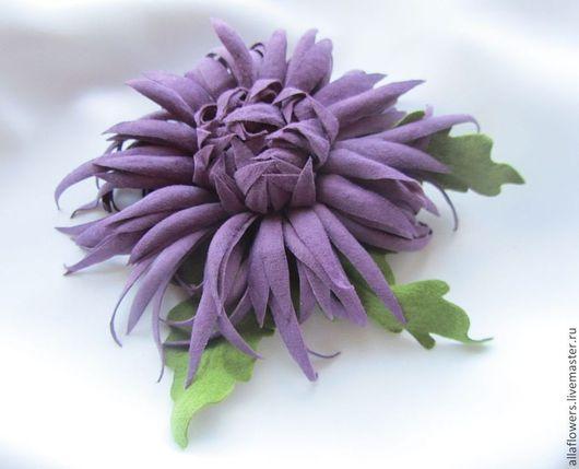 Заколки ручной работы. Ярмарка Мастеров - ручная работа. Купить Хризантема из натуральной замши (заколка). Handmade. Фиолетовый цветок