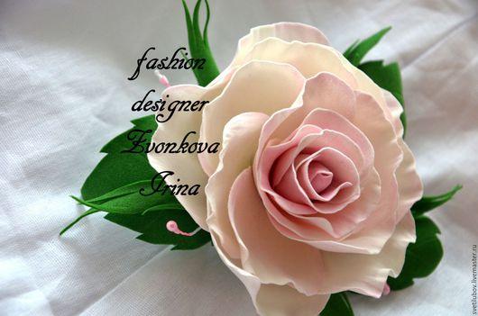 Заколки ручной работы. Ярмарка Мастеров - ручная работа. Купить Цветы из фоамирана заколка брошь. Handmade. Бледно-розовый
