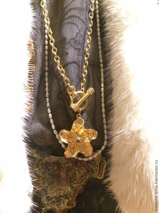 """Винтажные украшения. Ярмарка Мастеров - ручная работа. Купить Цепочка с подвеской """"Золотой цветок"""" от Nolan Miller (США), винтаж. Handmade."""
