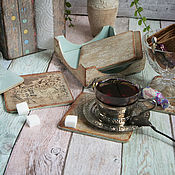 Для дома и интерьера handmade. Livemaster - original item Set of Cup stands Vintage lace. Decoupage. Handmade.