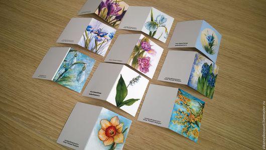 """Открытки на все случаи жизни ручной работы. Ярмарка Мастеров - ручная работа. Купить набор мини-открыток """" Весенние цветы"""". Handmade."""
