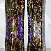 Посуда handmade. Livemaster - original item Bottle Grapes stained glass painting. Handmade.