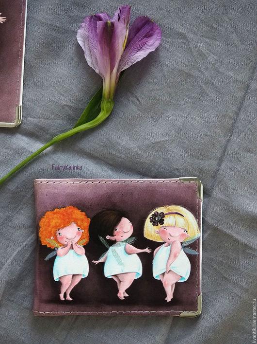 Кошелёк женский кожаный  с феечками от Elina Ellis  Магазин волшебных феечек. FairyKalinka
