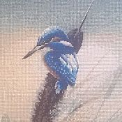"""Картины и панно ручной работы. Ярмарка Мастеров - ручная работа Вышивка """"Зимородок"""". Handmade."""