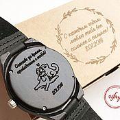 Подарки ручной работы. Ярмарка Мастеров - ручная работа Часы с гравировкой из натурального дерева. Handmade.