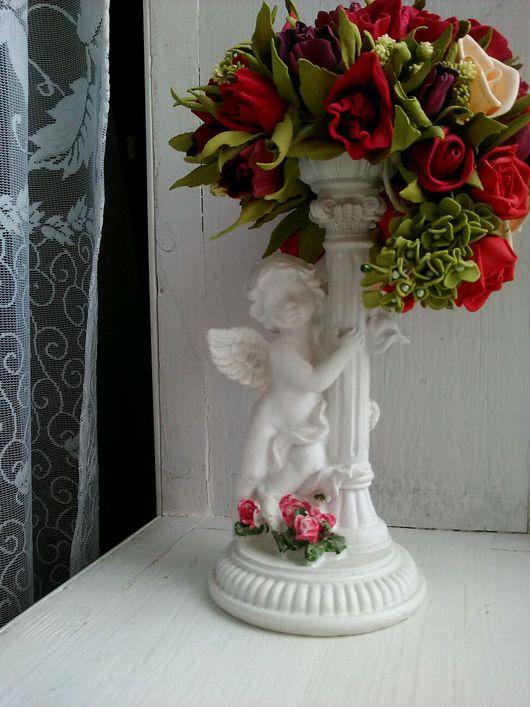Интерьерные композиции ручной работы. Ярмарка Мастеров - ручная работа. Купить Композиция ангел с цветами. Handmade. Фоамиран, фом