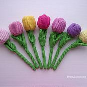 Цветы ручной работы. Ярмарка Мастеров - ручная работа Тюльпаны. Вязаные цветы. Букет в подарок.. Handmade.