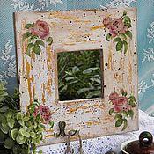 """Для дома и интерьера ручной работы. Ярмарка Мастеров - ручная работа Ключница с зеркалом """"Старинные розы"""" в стиле винтаж. Handmade."""